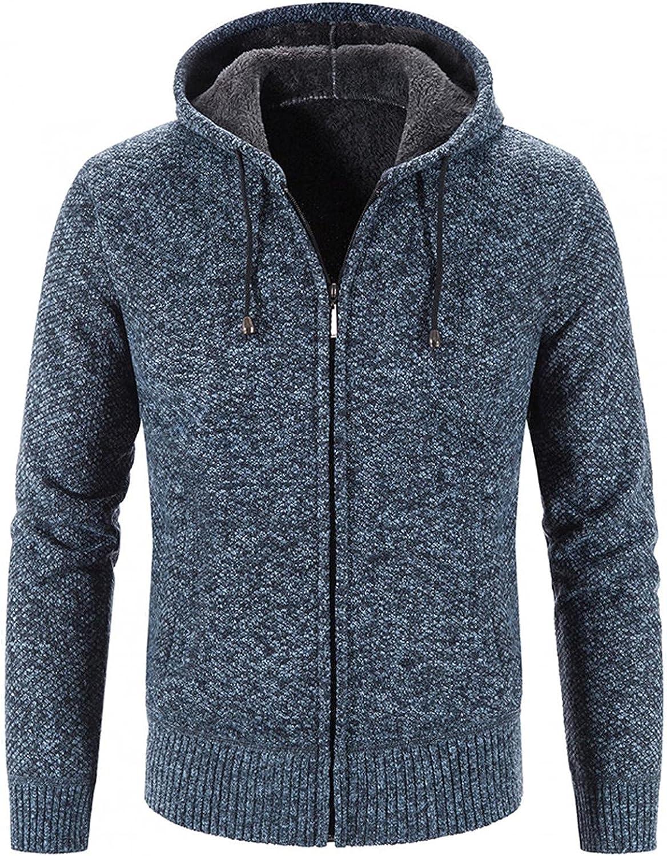Aayomet Men's Hoodies Cardigan Winter Warm Solid Zip Long Sleeve Casual Hooded Pullover Tops Sweaters Coat