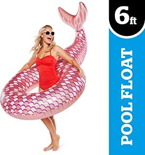 BigMouth Inc. Rose Gold Mermaid Tail Pool Float–Giant 5 Foot Inflatable Pool Tube with Mermaid Tail, Easy to Wipe Down, Inflate/Deflate, Transport and Store – Perfect for Pool Parties and Beach Days