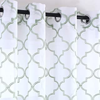 KEQIAOSUOCAI White Embroidered Window Sheer Curtain Olive Green Moroccan Tile Pattern 2 Panels Grommet Faux Linen Curtains for Bedroom 52 x 84 Inch