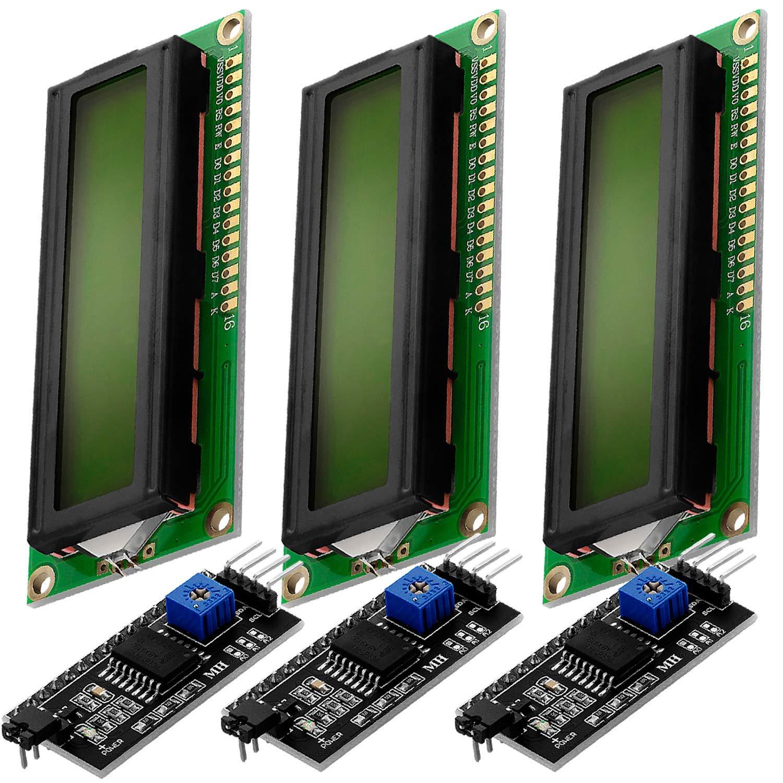 AZDelivery 3 x HD44780 16x2 Modulo LCD Display Bundle con Interfaz I2C 2x16 Caracteres compatible con Arduino con E-Book incluido! (con Fondo Verde y Caracteres Negros)