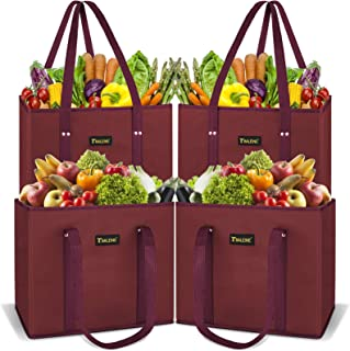 BALEINE 4 Pack Reusable Grocery Shopping Box Bag Set with Reinforced Bottom & Handles, Large Heavy Duty Eco Friendly Colla...