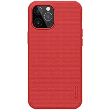 """Nillkin Case for Apple iPhone 12 / iPhone 12 Pro (6.1"""" Inch) Super Frosted Shield Pro Hard Back Soft Border (PC + TPU) Shock Absorb Cover Raised Bezel Camera Protect PC Without Logo Cut Red"""