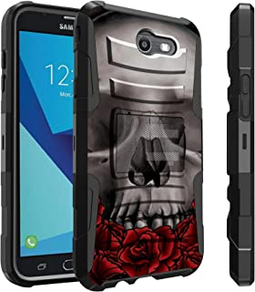 Untouchble Case for Galaxy J7 Sky Pro Case, Galaxy J7 Perx Case, Galaxy J7 V Case, J7 Halo [Heavy Duty Clip] Dual Layer Rugged Hybrid Armor [Kickstand] [Swivel Holster] - Traditional Rose Skull