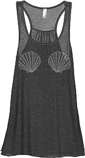 Mermaid Bra Siren Women's Sleeveless Flowy Racerback Tank Top Charcoal Grey
