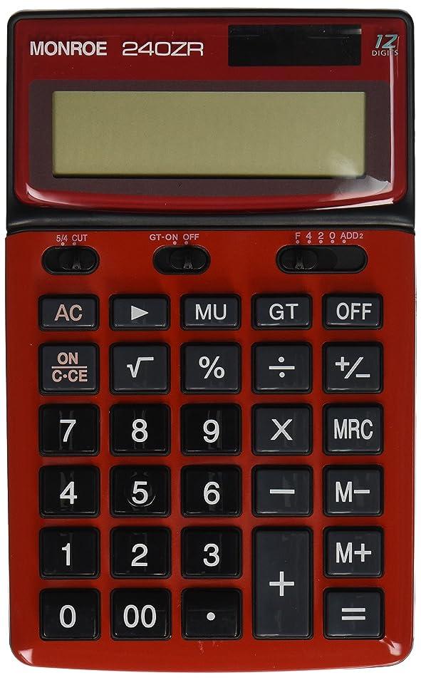 司教望遠鏡どうやらモンローシステムforビジネスモンロー240zレッドハンドヘルド計算機。商用グレード12桁ハンドヘルドバッテリー/ Solar Powered電卓大きな桁と角度調整できる表示。