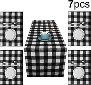 Christmas Plaid Table Runner Cotton Table Linens and 6 Pieces Gingham Table Placemats for Holiday Gatherings Dinner Parties Christmas Table Decorations (White and Black)