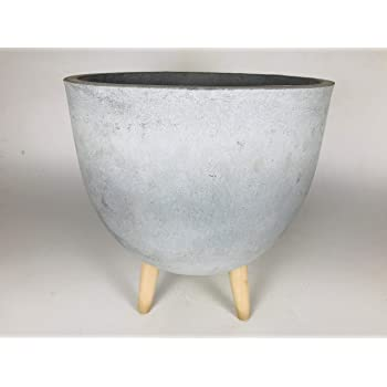 Paudhe Se Yaari Cylindrical Grey Cement Planter with Wooden Stand. Large Mid Century Modern Planter Pot for House Plants Modern Home Office Outdoor Indoor Patio Deck Porch Balcony Garden Décor.