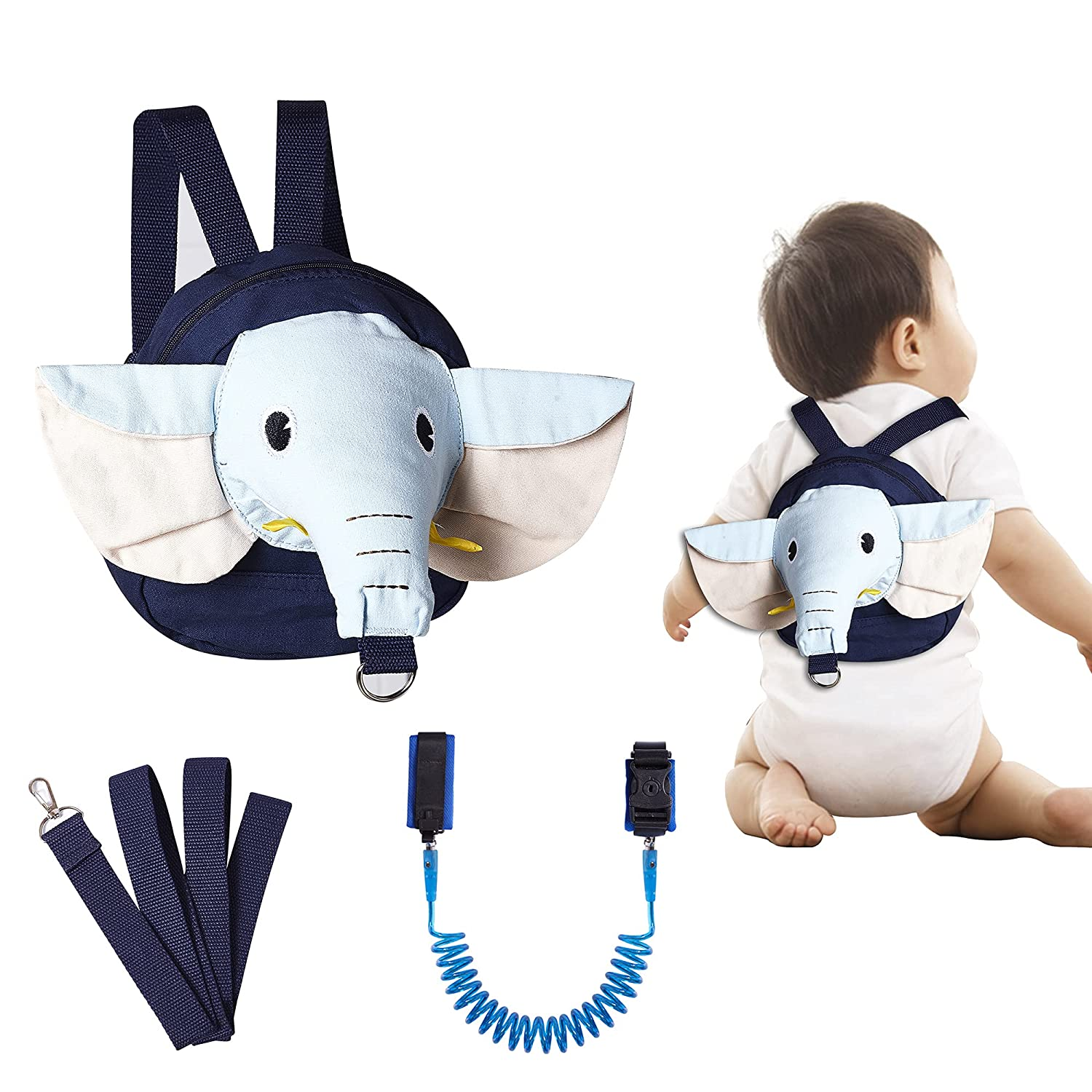 Toddlers Leash for Walking and Anti Lost Wrist Link Safety Wrist and Elephant Toddler Mini Backpack 3 in 1 for Toddlers, Child, Baby and Girls,Kids, Walking Wristband Assistant Strap Belt