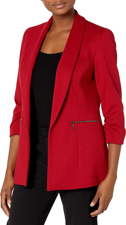 Kasper Women's Ponte Shawl Collar Long Jacket with Zipper Pockets