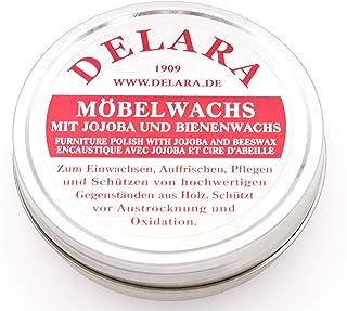 DELARA Sehr hochwertiges Möbelwachs mit Jojoba und Bienenwachs, schützt vor Austrocknung und Oxidation, farblos - Made in Germany