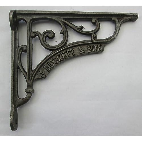 "black Cast Iron fancy Scroll lipped Shelf Wall Brackets  large  9 x 4 1//2/"" pair"
