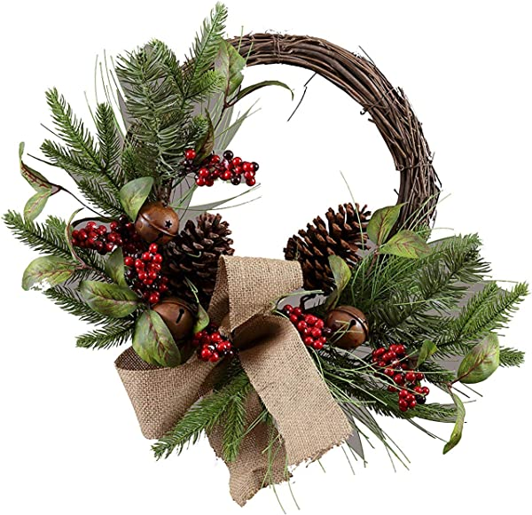 PinnacleT1 Berry Silk Fall Front Door Wreath 20inch National Tree With Rich Fall Colors And Foliage With Bells Approved For Covered Outdoor Use With Beautiful Gift Box