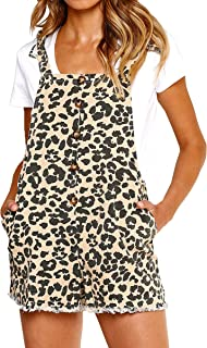 Women Leopard Bib Overalls Sexy Strap Backless Summer Beach Romper Jumpsuit with Pockets