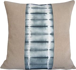 Cojín de lino y shibori color pizarra .Funda de cojín 45 x45 cm.Gris pizarra y lino natural - BeccaTextile