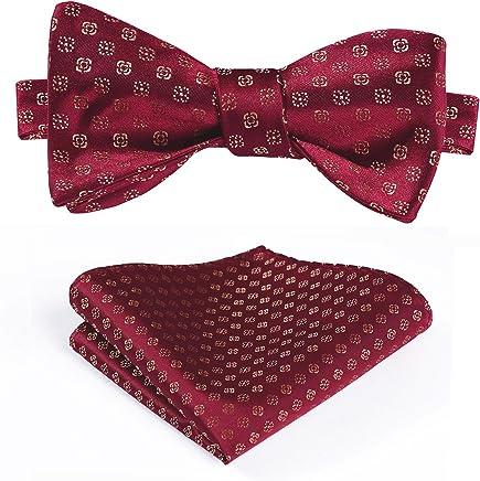 HISDERN Wedding Bow Ties for Men Elegant Silk Bowtie + Handkerchief Set Formal Tuxedo Bowtie Adjustable Length in Different Colors