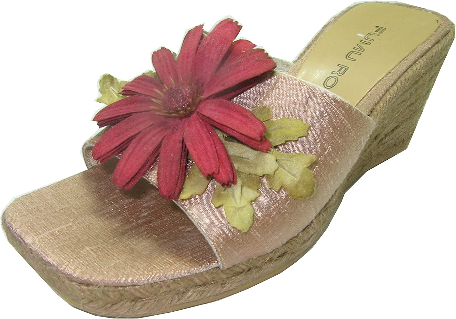 Fumu Roi Wedge Mule Sandal Heels shoes Tan Silk Taffeta Size 7m