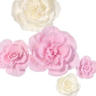 Ling's moment Large Paper Flower Decorations for Wall, 5 X Handcrafted Pink & White Crepe Paper Flowers for Baby Nursery Bridal Shower Party Wedding Backdrop Archway Centerpiece