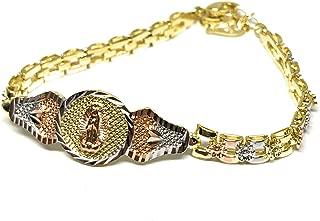 """Fran & Co. Virgin Mary Bracelet Virgen De Guadalupe Pulsera Tres Colores Oro Laminado 8"""""""