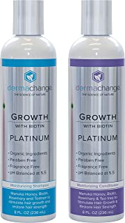 Hair Growth Organic Shampoo and Conditioner Set - With Biotin and Argan Oil - Supports Regrowth and Prevents Hair Loss - Dry Damaged and Color-Treated Hair - Sulfate and Paraben Free (8oz)