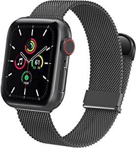 GagaBang Metal Bands Compatible with Apple Watch Band 40mm 44mm 38mm 42mm Women Men, Magnetic Stainless Steel Mesh Strap for iWatch Series 6 5 4 3 2 1 SE Black(Patents Pending)