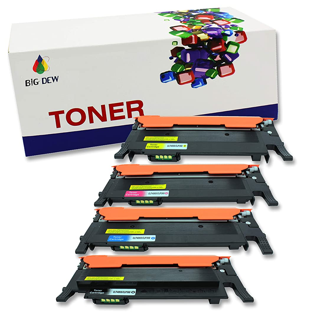 BIG DEW Compatible Toner Cartridge Replacement for Samsung CLT-K406S ( Black, Cyan, Yellow, Magenta , 4 pk )