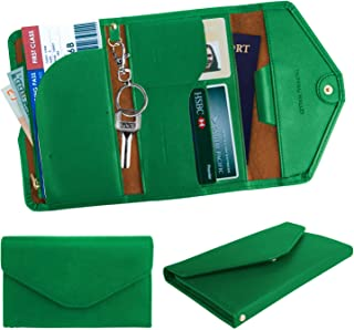 xperg Travel Wallet with RFID Blocking, Womens Passport Holder/Cover, Special Size for Handheld and Pocket, Document Organizer/Holder for ID/Credit Cards, Tickets, Receipts, Bills, Coin (Green)
