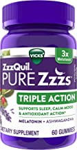 ZzzQuil PURE Zzzs, Triple Action Gummy, 3x Melatonin Sleep-Aid with Ashwagandha, Non-Habit Forming, Drug Free, 6mg Melaton...