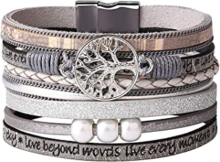 Tree of Life Multilayer Leather Wrap Bracelets,Boho Pearl Gorgeous Cuff Bracelet with Magnetic Buckle,Casual Bangle for Women&Girl