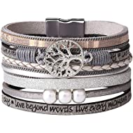 KSQS Tree of Life Multilayer Leather Wrap Bracelets,Boho Pearl Gorgeous Cuff Bracelet with...