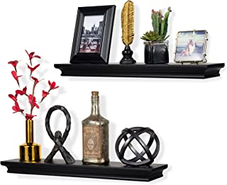 brightmaison Set of 2 Traditional Wall Floating Shelf Mantle Black for Home and Office Decorative Molding Style for Storage Display Ledge Concealed Mount Bracket Buyer Receives 2 Shelves (Black)