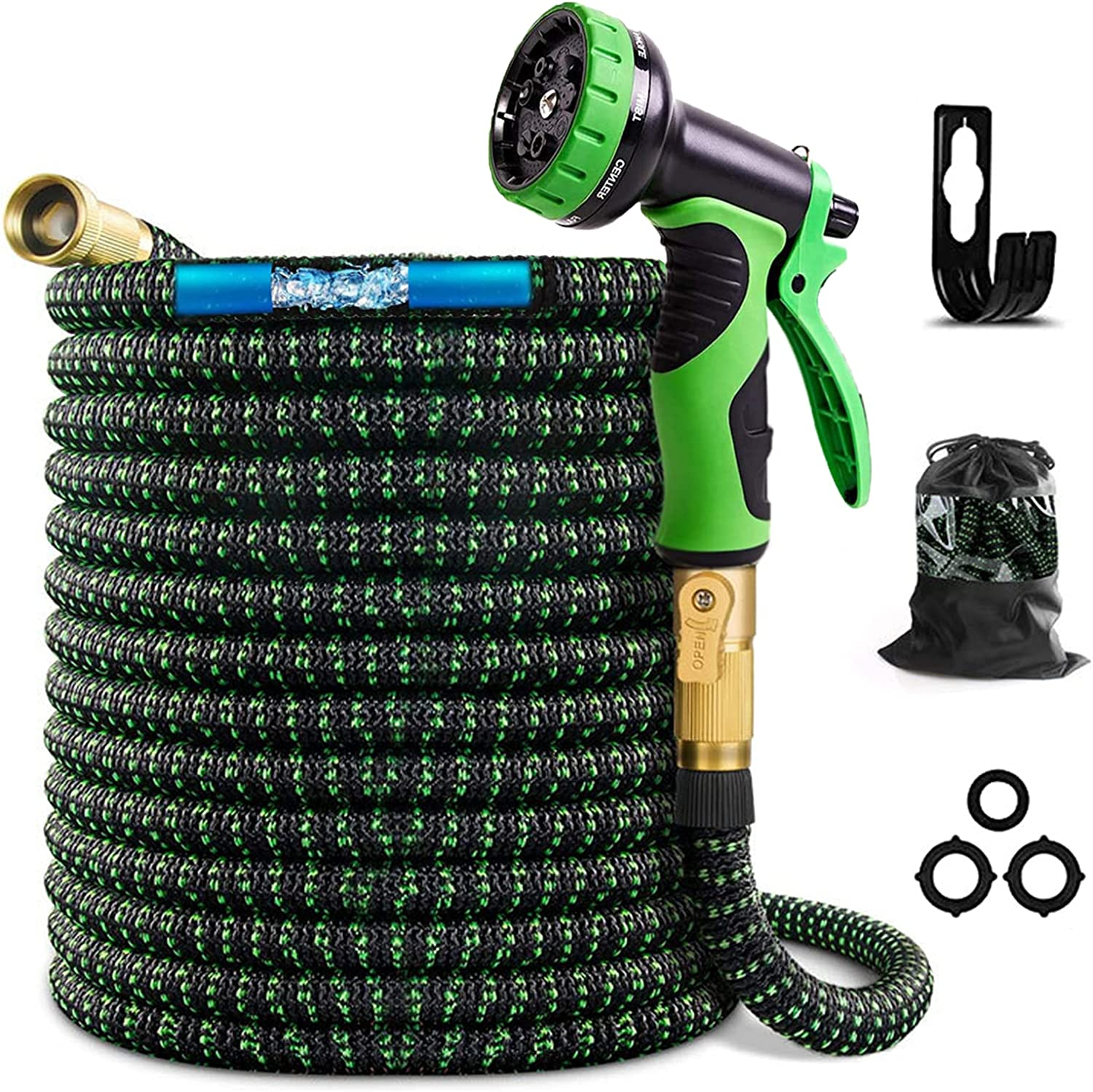 DuLaSeed Expandable Garden Hose 25FT, Flexible Water Hose with 10 Function Sprayer Nozzle and 3/4