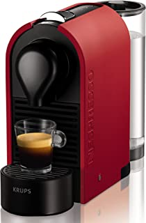 Nespresso Intenso Krups U XN2505 Cafetera de cápsulas de 19 bares con 3 programas de café, depósito modular y función de autoapagado, color rojo