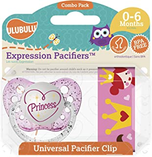 Ulubulu Princess Pacifier with Universal Pacifier Clip, 0-6 Months