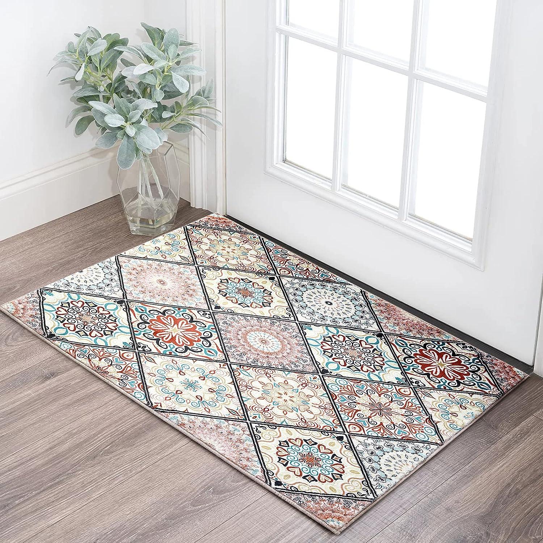 Manufacturer regenerated product RoomTalks Oriental Tile Area Rugs 2x3 Blush Faux Wool Fl Discount mail order Mandala