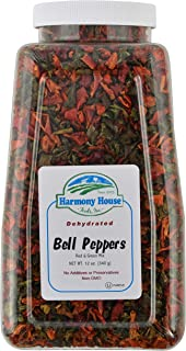 Harmony House Dried Mixed Bell Peppers, Diced – Dehydrated Vegetables for Cooking, Camping, Emergency Supply and More