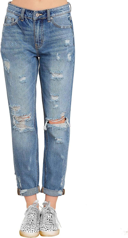 luvamia Women's Casual Ripped Boyfriend Jeans Distressed Stretch Denim Jean Pants