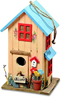 Cozy Cottage Bird House, Hand Crafted, Rustic Blue Roof, Red Window Frames, 3D Welcome Sign, Potted Flowers and Watering Can Details, Twine Hanger, 10 1/4 Inches Tall