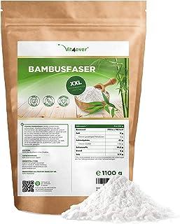 Bambusfaser 1100g / 1,1 kg - Ballaststoffreich - Glutenfrei - 100% Bambusfasern zum Backen & Low Carb - Naturbelassen - Laborgeprüft - Premium Qualität