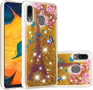 Glitter Case for Samsung Galaxy A20/A30,QFFUN Bling Floating Liquid Quicksand Soft Clear Slim Fit Silicone Case with Screen Protector Shockproof Transparent Protective Cover Bumper - Butterfly Tower