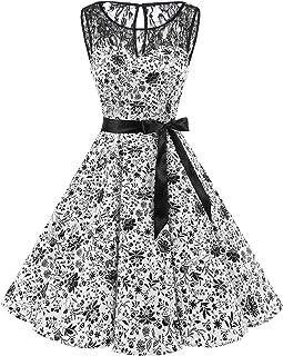 e3f9d039759 Bbonlinedress Vintage rétro 1950 s Audrey Hepburn Robe de Soirée Cocktail  sans Manches avec Dentelle année 50