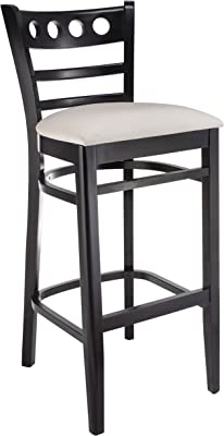 Beechwood Mountain BSD- Solid Beech Wood Bar Stool in Black for Kitchen and dining