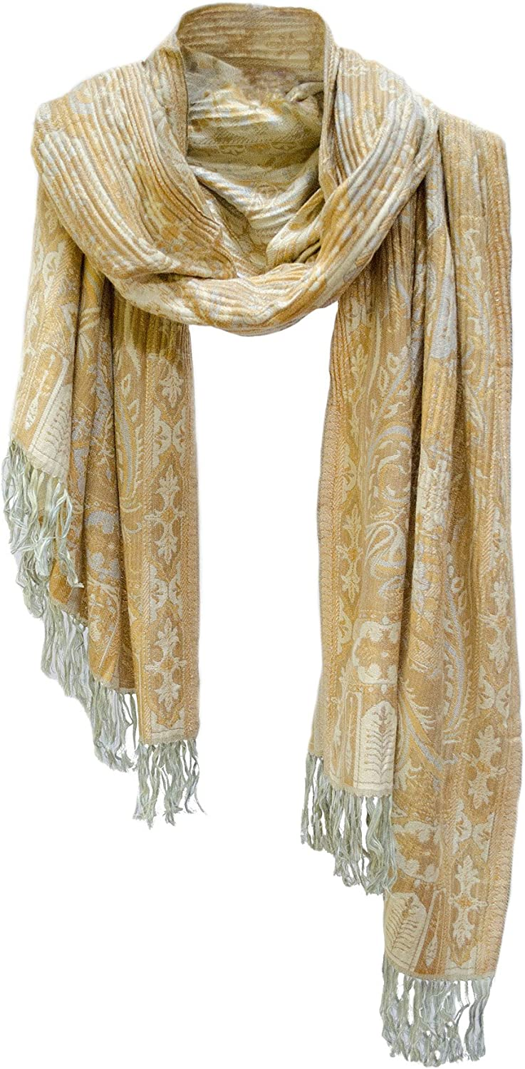 Crinkle Paisley Scarf Stole Wrap Shawl Butter Yellow