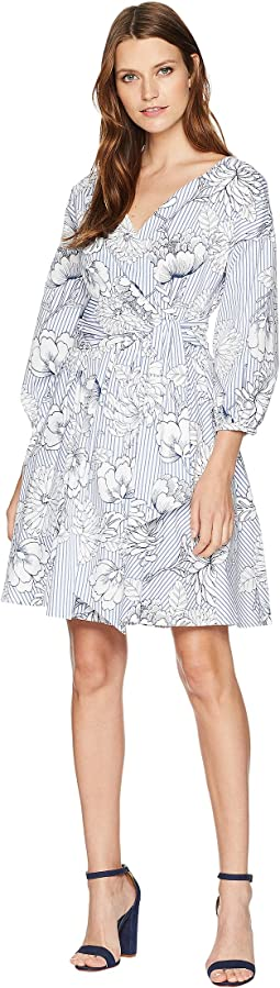 Printed Poplin Wrap Dress