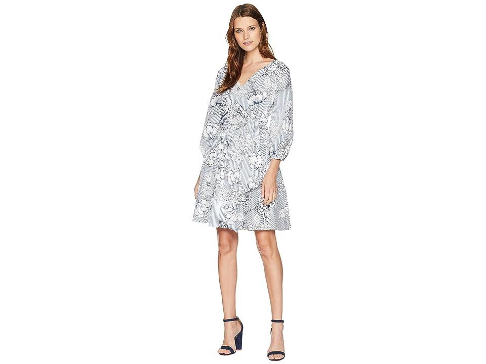 ALEXIA ADMOR Printed Poplin Wrap Dress (Blue/White) Women