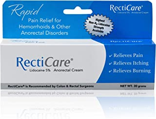 RectiCare Anorectal Lidocaine 5% Cream: Topical Anesthetic Cream for Treatment of Hemorrhoids & Other Anorectal Disorders - 30g Tube