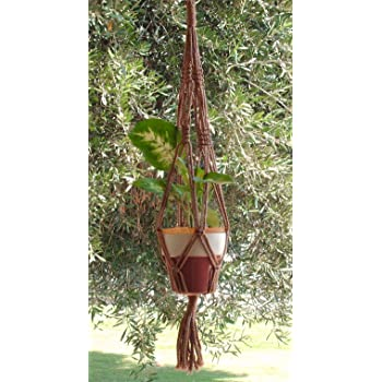 CHOOSE CORD COLOR MACRAME PLANT HANGER 24 in Vintage with BEADS Sky Blue Cord