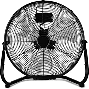 HealSmart 20 Inch 3-Speed High Velocity Heavy Duty Metal Industrial Floor Fans Oscillating Quiet for Home, Commercial, Residential, and Greenhouse Use, Outdoor/Indoor, Black, 20