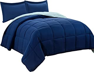 HIG 2pc Down Alternative Comforter Set -All Season Reversible Comforter with Sham - Quilted Duvet Insert with Corner Tabs -Box Stitched –Hypoallergenic, Soft, Fluffy (Twin/Twin XL, Navy/Light Blue)