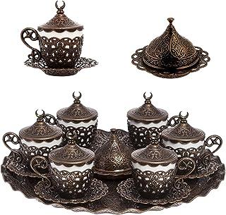 Alisveristime 27 Pc Turkish Greek Arabic Coffee Espresso Cup Saucer Set (Gelincik) Copper