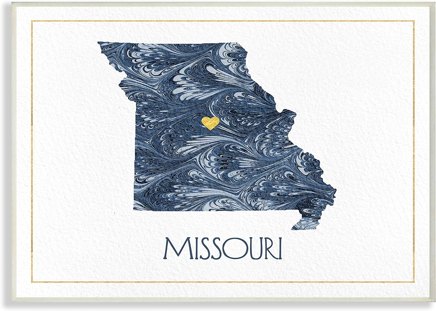 The Stupell Home Decor Missouri Minimal bluee Marbled Paper Silhouette Wall Plaque Art, 13 X 19 Multi-color